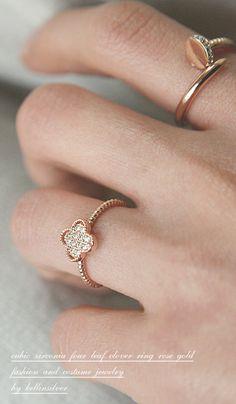 Rose Gold Clover Diamond Ring in Sterling Silver from Kellinsilver.com – cz diamond clover ring, 4 leaf clover ring, four leaf clover ring