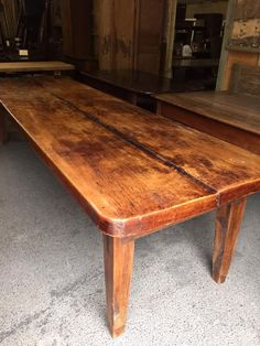 This Is An Exceptional Two Plank Beech Antique Farmhouse Table.