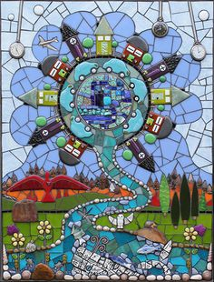 FEATURED ARTIST Tree Of Life Artwork, Artsy Fartsy, Stained Glass, Mixed Media, Mosaic Ideas, Artists, Mosaic Wall, Beautiful Things, Buildings