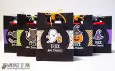 Lawn Fawn -  Spooktacular + coordinating dies, Goodie Bag Lawn Cuts die, Stitched Party Banners, Vivid Triple Pack Lawn Trimmings _ Goodie Bags by Yukari at Handmade by Yuki: Halloween Goodie Bags featuring Lawn Fawn