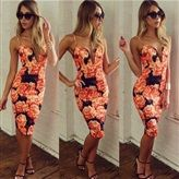 Black Red Floral Print Plunging Midi Dress $31.99