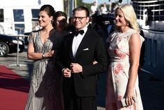 zimbio:  Pre-Wedding Dinner, Stockholm, Sweden, June 12, 2015-Crown Princess Victoria and Crown Princess Mette-Marit arrived on the arms of Prince Daniel