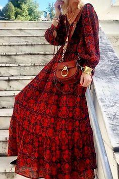 Bohemian V Neck Floral Pattern Long Sleeve High-Waist Dress – streetstylepop Vacation Dresses, Floral Maxi Dress, Dress Brands, High Waist, Bodycon Dress, Bohemian, V Neck, Long Sleeve, Womens Fashion