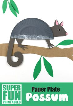 Paper plate Ringtail possum printable Australian animal craft for kids. Use the template to create a cute ringtail possum! Paper Plate Crafts For Kids, Animal Crafts For Kids, Fun Crafts For Kids, Preschool Crafts, Preschool Kindergarten, Creative Crafts, Rare Species Of Animals, Frog Species, Frog Crafts