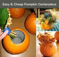 Pumpkin centrepiece (Could use the same approach with almost any vegetable or gourd.)