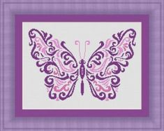 BUTTERFLY purple pink /papillon- Counted cross stitch pattern /grille point de croix ,Cross Stitch PDF, Instant download , free shipping