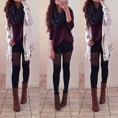 """@rinasenorita's photo: """"Spot the difference. Cardigan + Scarf + boots (middle) from @dailylook 