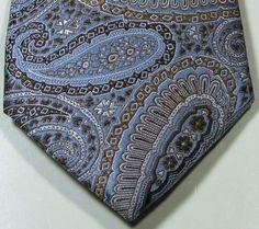 BLACK BROWN Rich Light Blue Brown Paisley 100% Silk Tie Rare EXCELLENT #blackbrown #NeckTie