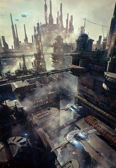 environment concept by stonemason Studio Max Science Fiction Fantasy City, 3d Fantasy, Fantasy Landscape, Fantasy World, Environment Concept Art, Environment Design, Animation, Rpg Cyberpunk, Game Design