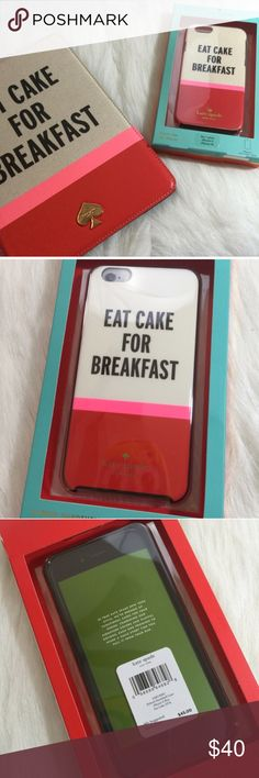 Kate Spade Eat Cake iPhone 6+ Case Kate Spade eat cake for breakfast iPhone 6+ case. Hard case. Fits iPhone 6 Plus. iPad case not included. kate spade Accessories Phone Cases