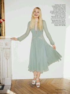 Elle Fanning in a Burberry Prorsum dress in the June 2014 issue of Vogue