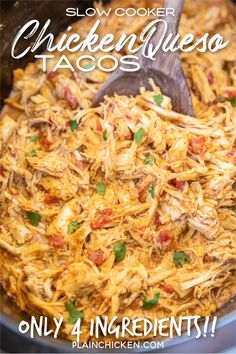 Slow Cooker Queso Chicken Tacos - Plain Chicken,Slow Cooker Queso Chicken Tacos - only 4 ingredients! Chicken slow-cooked in taco seasoning, diced tomatoes and green chiles, and Mexican cheese dip. Crockpot Dishes, Crock Pot Cooking, Cooking Recipes, Healthy Recipes, Crockpot Chicken Tacos, Chicken Cooker, Easy Crockpot Recipes, Meals With Chicken, Slow Cooker Mexican Chicken