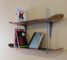 Skateboard Bookshelf: This adjustable height bookcase was made with some old skateboard decks, thread, some bolts and it's easy to recreate. I like that the height is adjustable and the all thread works as book ends. See the instructions