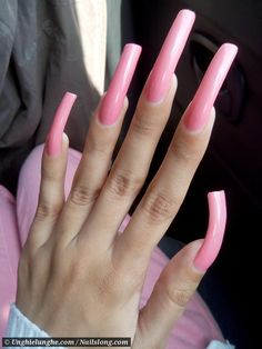 Long Red Nails, Long Nail Art, Long Fingernails, Perfect Nails, Gorgeous Nails, Pretty Nails, Acrylic Nails Coffin Pink, Long Natural Nails, Secret Nails