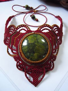 Handmade Gemstone Macrame Necklace / Collier Fait main Pierre et Macrame. $90.00, via Etsy.