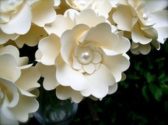 The Camellia  -  Handmade Paper Flower - Ivory  - Set of 20 - Stems Included (Custom Colors Available)