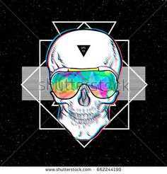 Skull in sunglasses iridescent mirrored sunglasses on geometric background. Vector illustration EPS10. Design a poster for a t-shirt. Great cool print on the sweatshirt. Black and white human skull.