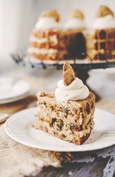 Chocolate Chip Cookie Layer Cake with Cookie Dough Filling, Salted Caramel Icing, & Brown Sugar Buttercream Dollops