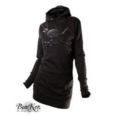 Embroiderd Dress Hoodie Skull Crocodile Leather Look