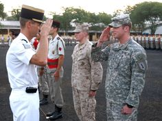 french army officers | Verhulst salutes a French officer after graduating from the French ...