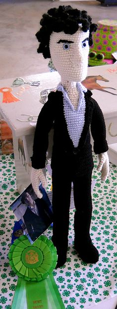 "HUGE #amigurumi #doll http://www.ravelry.com/projects/NAC13/a-study-in-stitching   25"" Sherlock Holmes (as played by Benedict Cumberbatch) from the BBC series 'Sherlock'. Complete with neck mole, black curls, dapper suit, posable fingers and those damn gorgeous cheekbones."