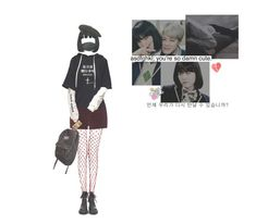 """""""min yoonji"""" by starlord-8 ❤ liked on Polyvore featuring River Island, JanSport, UNIF, Again and kangol"""