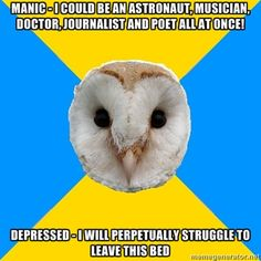 Bipolar Owl on comorbidity. Bipolar disorder, and generalized anxiety disorder, and panic attacks woo hoo! Living With Bipolar Disorder, Panic Disorder, Anxiety Disorder, Mental Disorders, Quotes About Bipolar Disorder, Seizure Disorder, Bipolar Humor, Bipolar Quotes, Mental Health