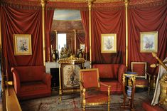 The apartment of empress Joséphine in the Château de Malmaison in Rueil-Malmaison, France. Installed in 1800 in the north part of the Château, this apartment which the consular couple shared during several years stayed in the Joséphine's exclusive usage after 1803. The room of the Empress, luxuriously decorated in 1812 in the shape of a tent with sixteen pieces, show her bed of origin.