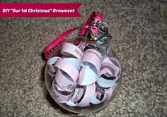 #DIY Our First #Christmas Ornament #Tutorial - made using the couple's wedding invitation (could also do a Baby's 1st Christmas Ornament using a birth announcement or shower invitation)