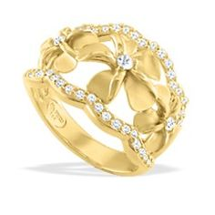 Yellow Gold Three Pumeria Diamond Ring, Na Hoku, $1399