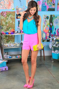 Turquoise top + hot pink shorts!