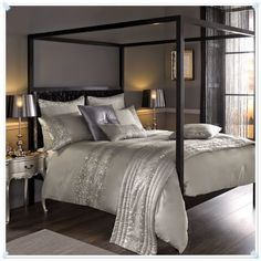 Kylie Minogue at Home Leopard Silver Bed Linen Free Next Day Shipping Wood Canopy Bed, Canopy Bed Frame, Silver Bedding, Satin Bedding, Linen Bedding, Bed Linens, Leopard Bedding, Bedroom Bed, Dream Bedroom
