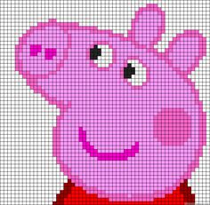 Melty Bead Patterns, Pearler Bead Patterns, Beading Patterns, Pixel Crochet, C2c Crochet, Peppa Pig, Arm Knitting, Knitting Charts, Pig Crafts