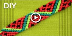 Friendship Bracelet - Watermelon Slices / DIY Tutorial - Hairstyles & Nails // DIY ♥ - You are in the right place about Friendship Bracelet on wrist Here Bracelets Bff, Diy Bracelets Easy, Bracelet Crafts, Diy Embroidery Bracelets, Diy Friendship Bracelets Tutorial, Diy Friendship Bracelets Patterns, Bracelet Tutorial, Retro Crafts, Simple Embroidery