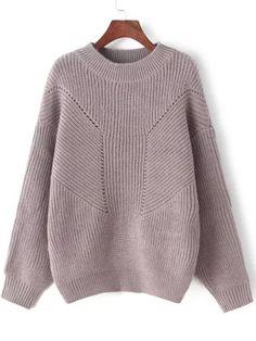 To find out about the Brown Crew Neck Hollow Knit Sweater at SHEIN, part of our latest Sweaters ready to shop online today! Loose Knit Sweaters, Pullover Sweaters, Long Sleeve Sweater, Long Sleeve Tops, Sweater Knitting Patterns, Crochet Patterns, Brown Sweater, Fall Wardrobe, Knitwear