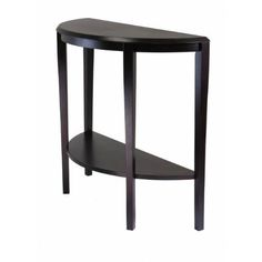 """Nadia Console Table Part No. 92642 by HFD. $132.38. LxWxH: 39.29""""x15.75""""x33.7"""". Solid / Composite Wood. Color: Dark Espresso. Modern and sleek design in Nadia Collection makes this a match for any decor. Round End Table, Oval Coffee Table and Half Moon Console/Entry Table. This collection has all the favors. Bottom shelf for storage. Profile table top has a little attitude. Part No. 92642"""