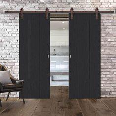 Barn Style Sliding Doors – Page 15 Wooden Sliding Doors, Internal Sliding Doors, Barn Style Sliding Doors, Bifold Barn Doors, Sliding Door Track, Sliding Door Systems, Double Barn Doors, Sliding Door Window Treatments