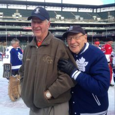 Gordie Howe and Johnny Bower Hockey Goalie, Ice Hockey, Canadian People, Canada Hockey, O Canada, Toronto Maple Leafs, Detroit Red Wings, Chicago Blackhawks