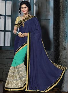 Online shopping best new style indian saree. Free shipping and cod. Glamorous embroidered and patch border work chiffon satin, faux georgette and net classic designer saree.