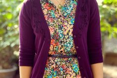printed dress purple cardigan - I want a dress like this!