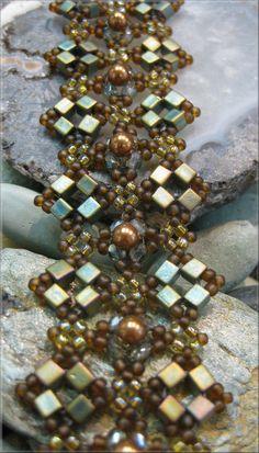 Persian Tapestry Woven Beaded Bracelet Pattern and Tutorial. $10.00, via Etsy.