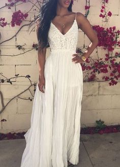 Solid White V Neck Lace and Chiffon Maxi Dress