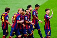 Lionel Messi (R) of FC Barcelona celebrates with his teammates after scoring his team's second goal during the La Liga match between FC Barcelona and RC Deportivo de la Coruna at Camp Nou on May 2015 in Barcelona, Catalonia. World Cup 2022, Fifa World Cup, Fc Barcelona, Barcelona Catalonia, Lionel Messi, Messi 2015, Messi Photos, Camp Nou, Celebrities