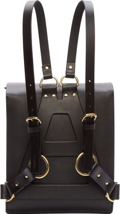 Corium // Fleet Ilya Black Leather Medium Harness Backpack