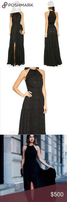 $795+❣️L'AGENCE Penelope Silk Maxi Tiered Dress Flocked strands create an elegant pattern on this silk-chiffon L'AGENCE maxi dress in black + nude. Ruching accents the high neckline and tiered skirt. Buttoned keyhole. Unlined. Semi-sheer. Size 2 = XS/Small  Fabric: Flocked silk chiffon. 100% silk.  **SOLD OUT**. Only work a few times, overall good condition. No trades ❌No Lowballers L'AGENCE Dresses Maxi