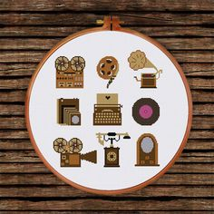 Vintage Items cross stitch pattern vinyl disc by ThuHaDesign