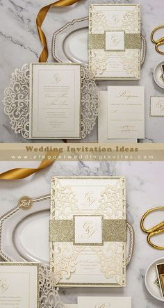 Chic and modern laser cut wedding invitations with glitter belly band EWWS286