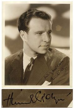 Lot Detail - Hume Cronyn x Signed Photo Hollywood Cinema, Classic Hollywood, Jessica Tandy, The Jazz Singer, Canadian Men, Best Supporting Actor, Paramount Pictures, The Seven, Alfred Hitchcock