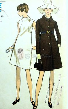 Mod Funnel Neck High fitted A Line Dress and Empire Waist Coat Pattern Vogue 7267 Bust vintage sewing patterns: This is a fabulous original dress making pattern, not a copy. Because the sewing patterns are vintage and pre owned, Dress Making Patterns, Vintage Dress Patterns, Vintage Dresses, Vintage Outfits, 60 Fashion, Fashion Sewing, Vintage Fashion, Vestidos Vintage, Vogue Patterns