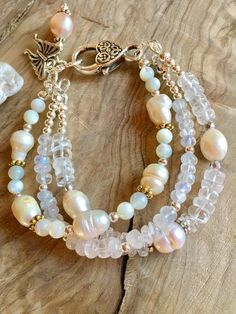 Pearl moonstone crystal quartz and mother of pearl multi #beadedjewelry